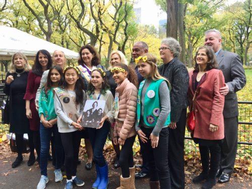 women's suffrage statue group shot