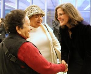 Helen greets constituents
