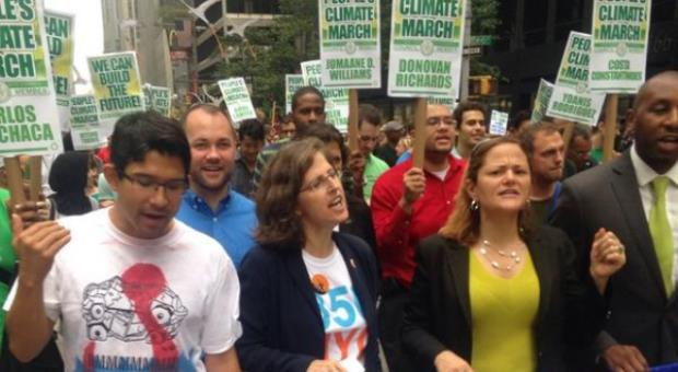 (Left to right) Council Member Carlos Menchaca, Helen, and Council Speaker Melissa Mark-Viverito at the 2014 People's Climate March in New York City.