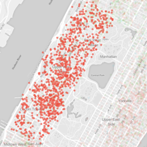 Map of illegal short-term rentals on the Upper West Side from InsideAirbnb