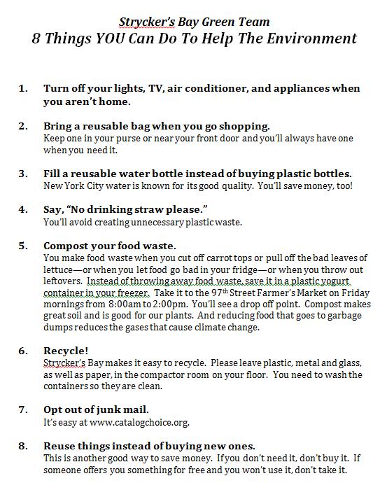Strycker's Bay Green Team-8 things to help the enviro