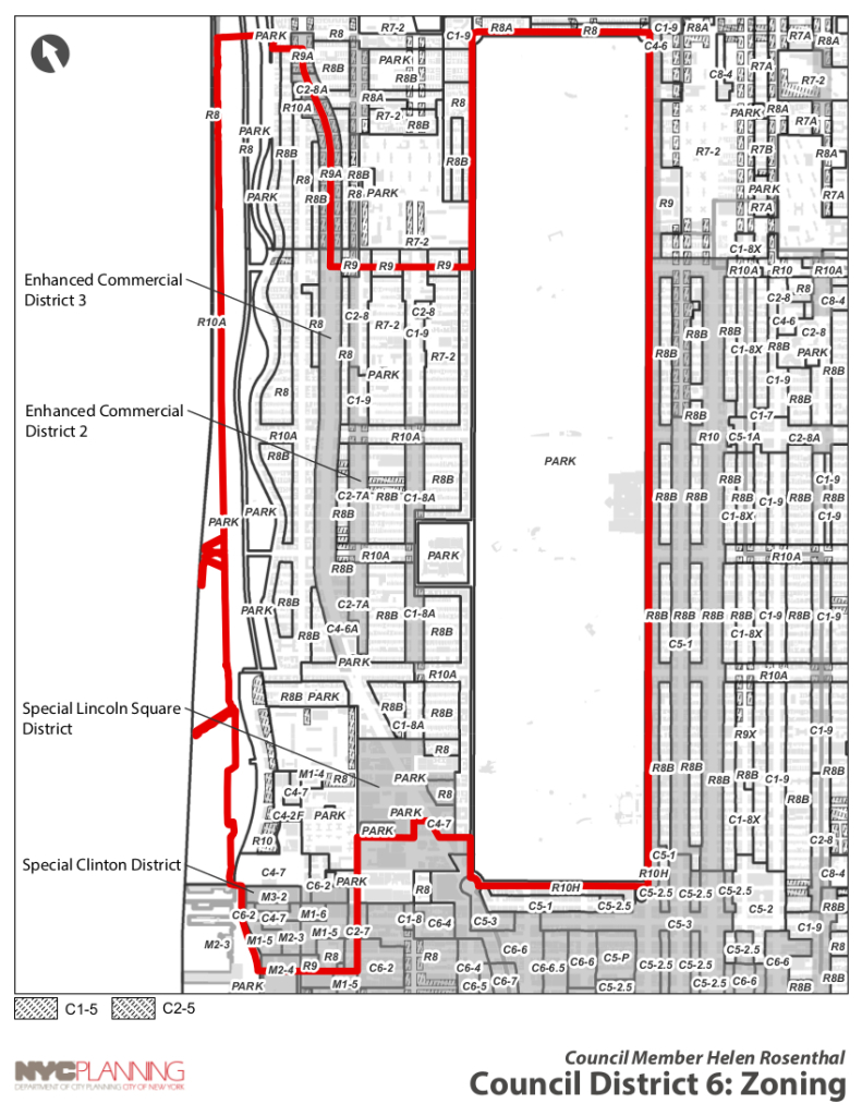 Zoning Map of the Upper West Side (City Council District 6)