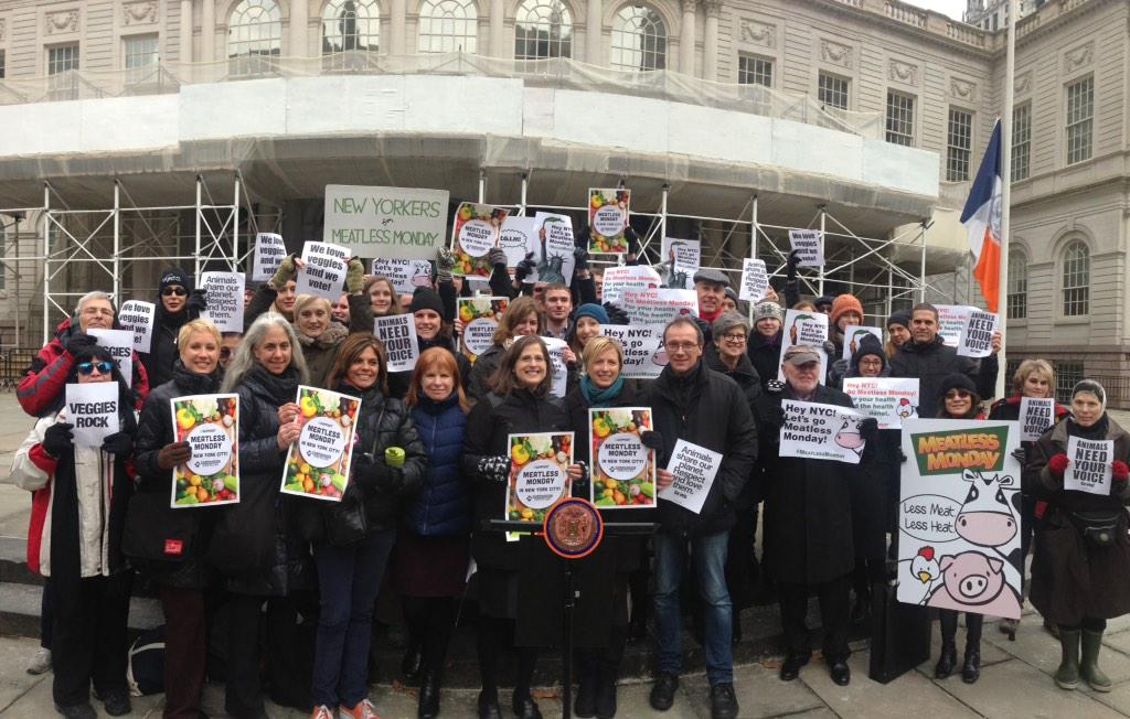 Helen and public health, environmental, and animal rights advocates rally for Meatless Mondays on January 22, 2015.