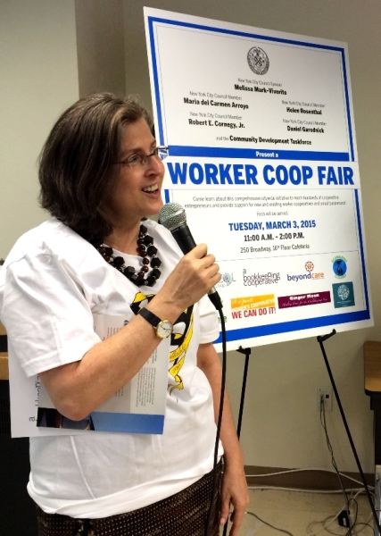 Helen speaks at the Worker Co-op Fair. Thanks to Helen's legislation, the City is expanding the number of worker cooperatives that do business with the City.