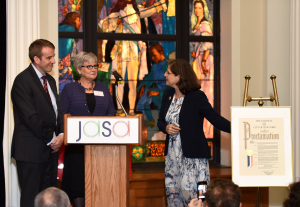 Helen presenting a Proclamation to Brendan Keany of Mutual Redevelopment Houses along with JASA's Chief Executive Officer Kathryn Haslanger (May 12, 2015)
