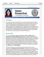 News from Helen - November 2015