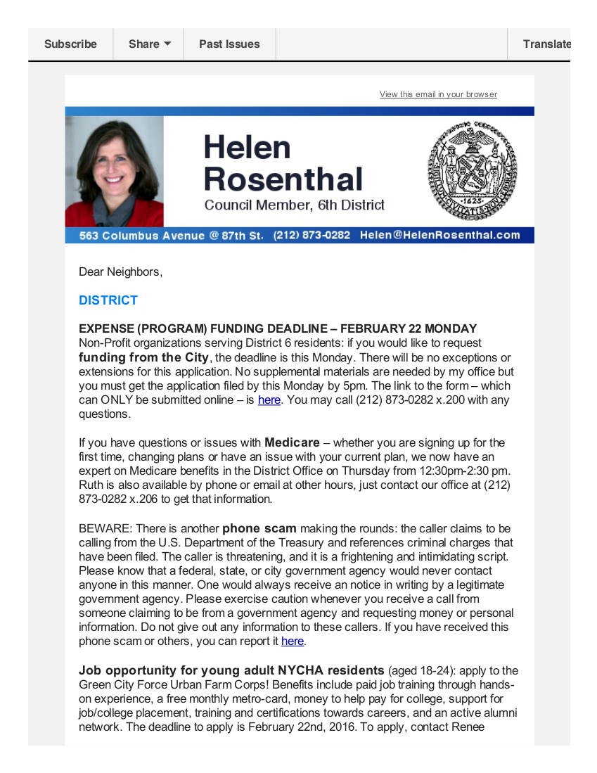 News from Helen - mid-February 2016