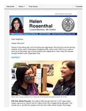 News from Helen, mid-April