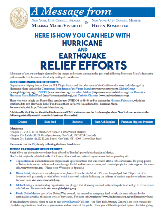 Relief efforts flyer