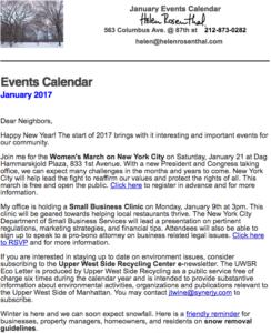 January 2017 Events Calendar
